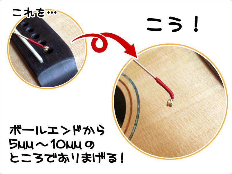 アコギの弦交換-ボールエンドの部分を折る