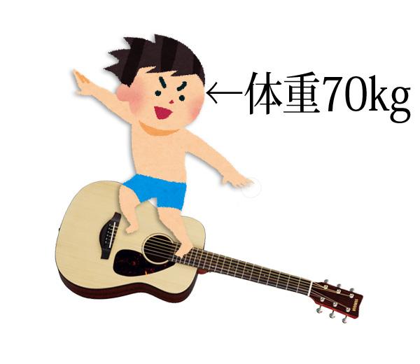 ギターに乗る体重70kgのサーフ少年