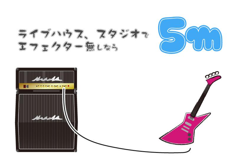 エレキギター、ベースのシールドの長さ_スタジオやライブハウスでアンプ直なら5メートル