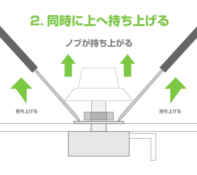 コントロールツマミのノブの簡単な外し方手順2